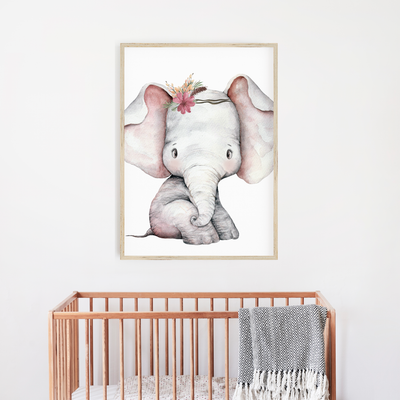 Girls Floral Woodland Elephant Nursery Print