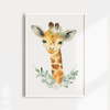 Girls Safari Boho Floral Giraffe Nursery Wall Art Print