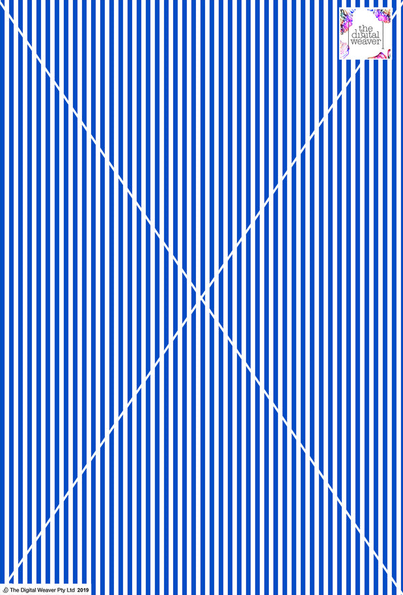 Stripe Vertical - 5mm - Cobalt & White