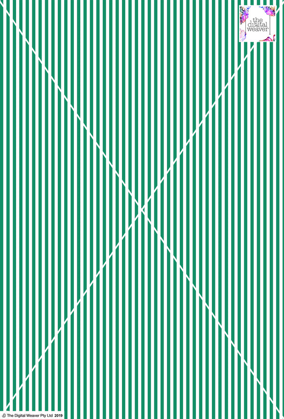 Stripe Vertical - 5mm - Fern Green & White