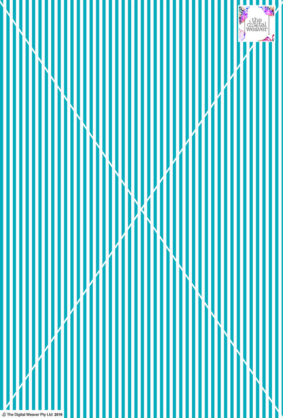 Stripe Vertical - 5mm - Teal & White