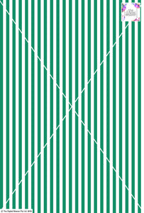 Stripe Vertical - 10mm - Fern Green & White
