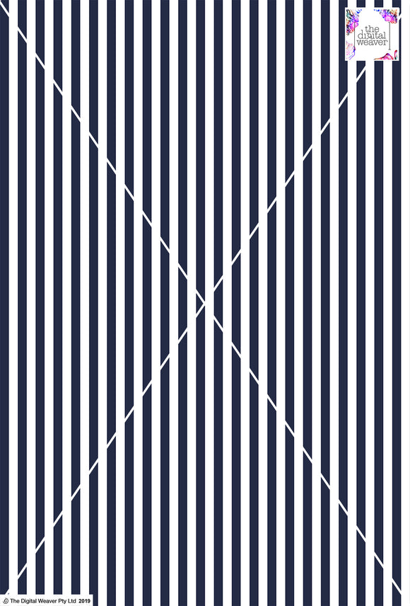 Stripe Vertical - 10mm - Navy Blue & White