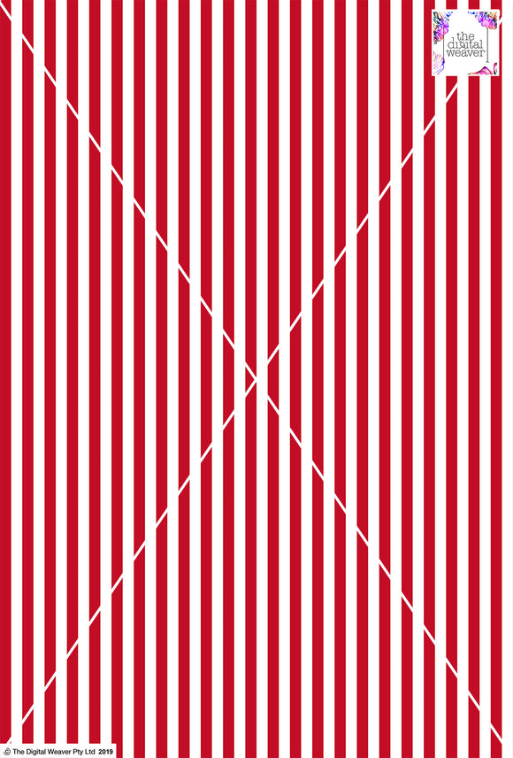 Stripe Vertical - 10mm - Ruby & White