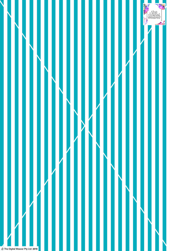 Stripe Vertical - 10mm - Teal & White