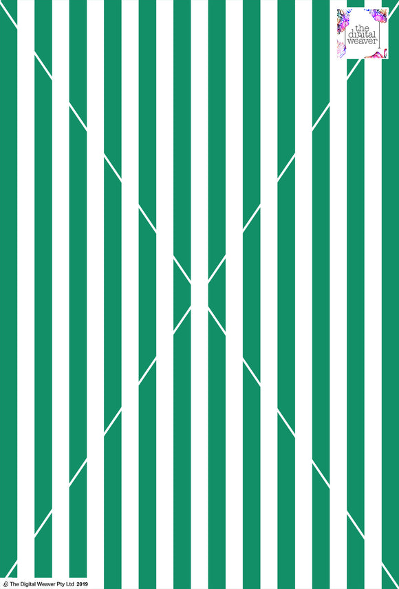Stripe Vertical - 20mm - Fern Green & White