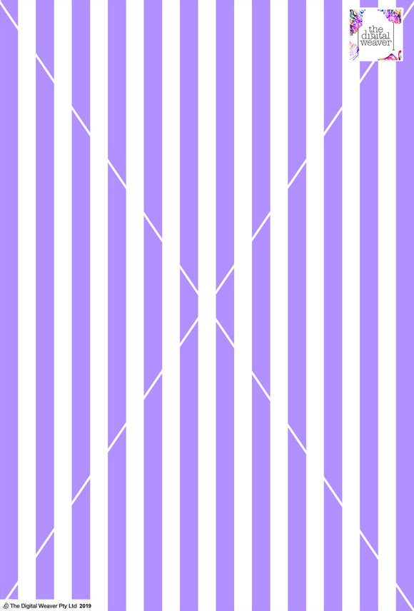 Stripe Vertical - 20mm - Lilac & White