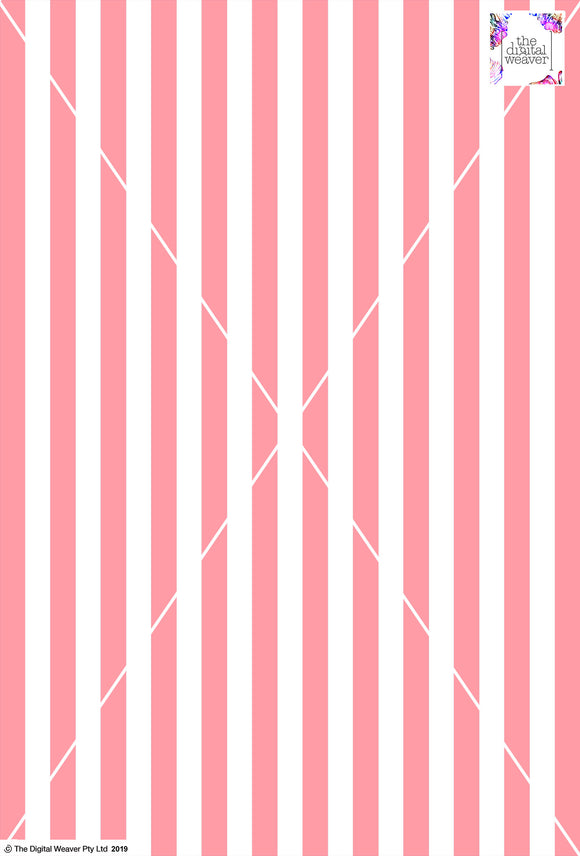 Stripe Vertical - 20mm - Rose & White