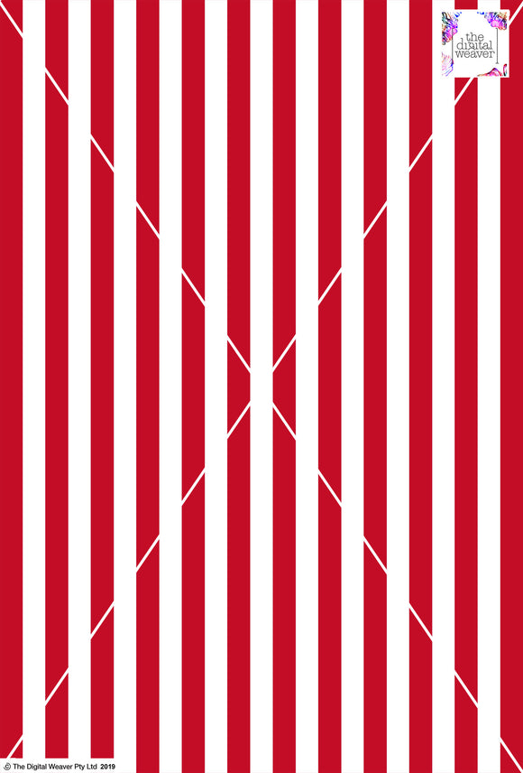 Stripe Vertical - 20mm - Ruby & White