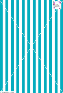 Stripe Vertical - 20mm - Teal & White