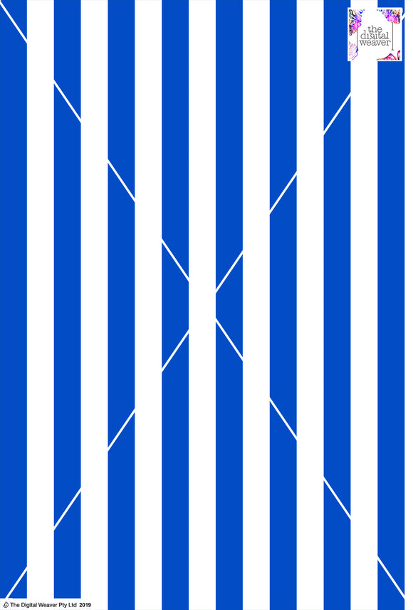 Stripe Vertical - 30mm - Cobalt & White