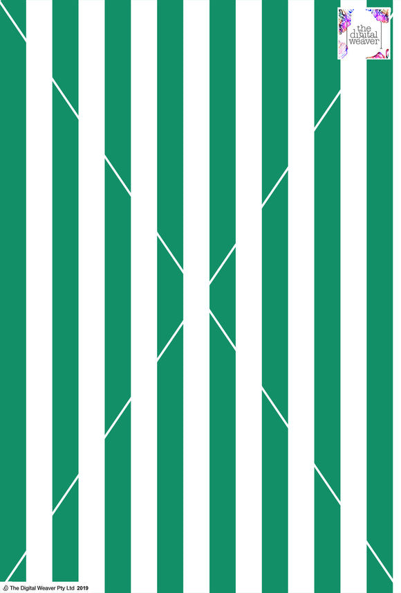 Stripe Vertical - 30mm - Fern Green & White