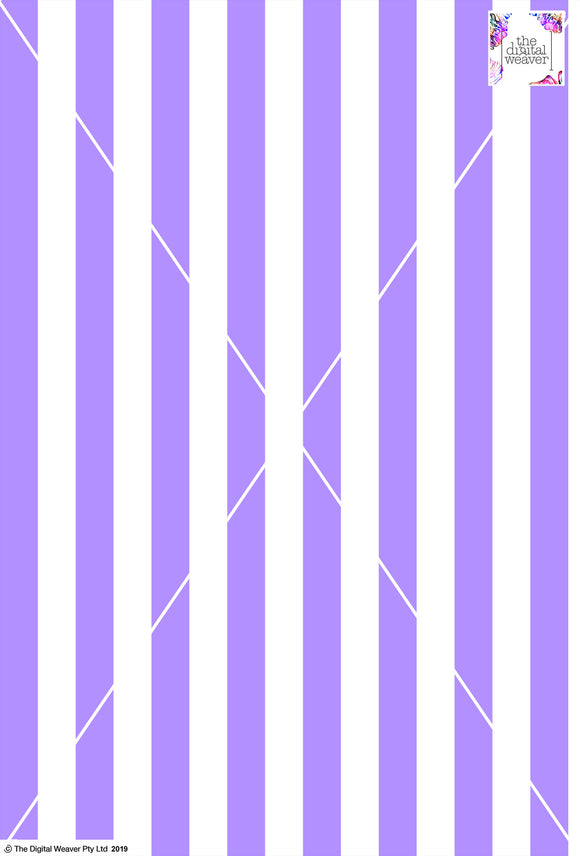 Stripe Vertical - 30mm - Lilac & White