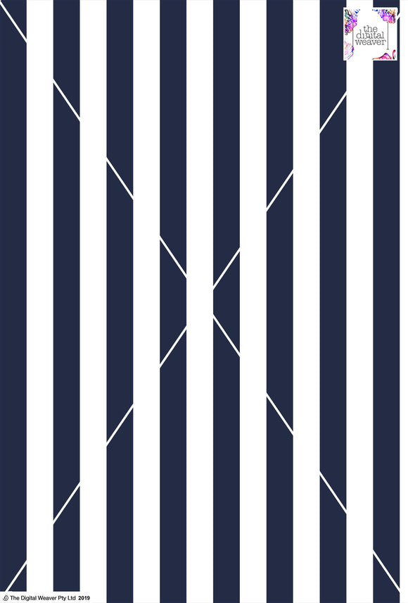 Stripe Vertical - 30mm - Navy Blue & White