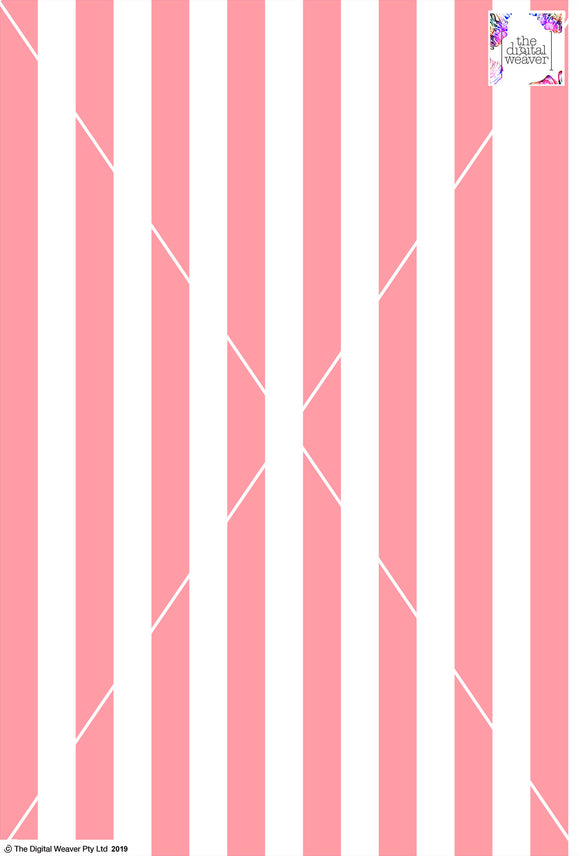 Stripe Vertical - 30mm - Rose & White
