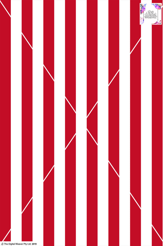 Stripe Vertical - 30mm - Ruby & White