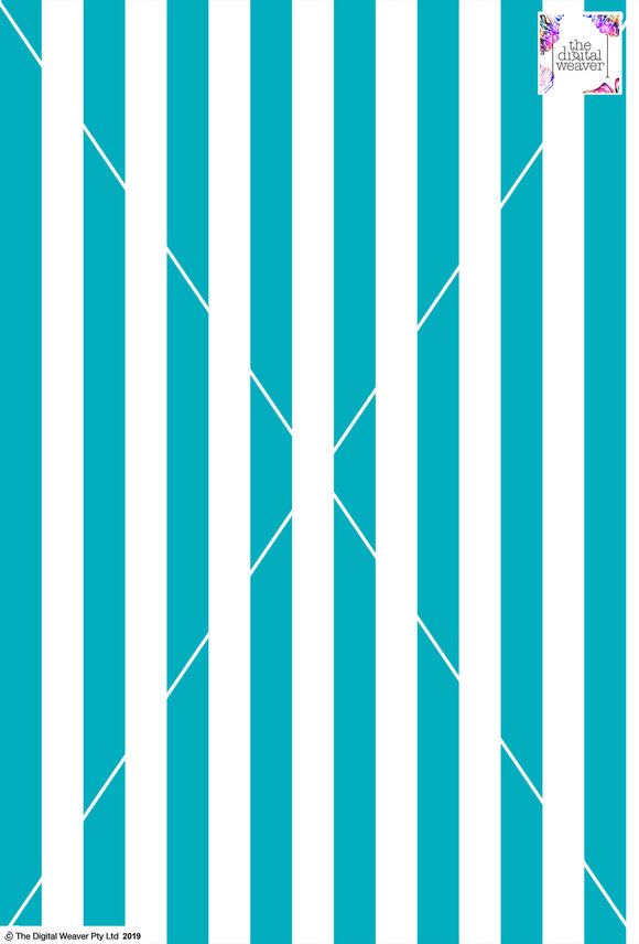 Stripe Vertical - 30mm - Teal & White