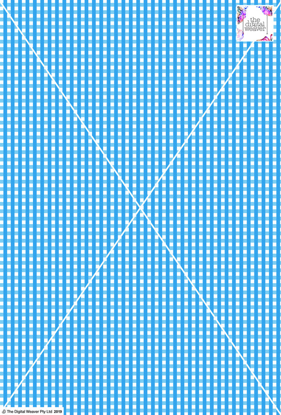 Gingham Check  - 5mm -  Baby Blue & White