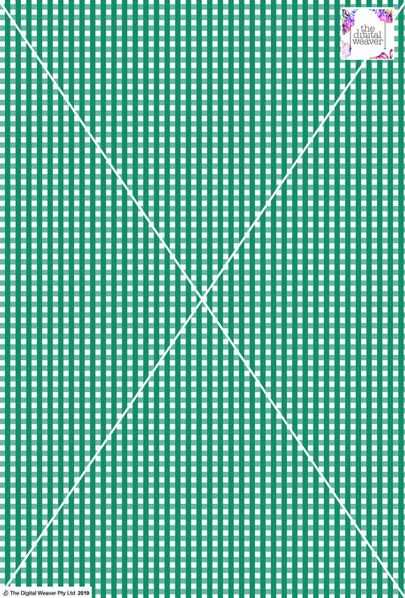 Gingham Check  - 5mm -  Fern & White