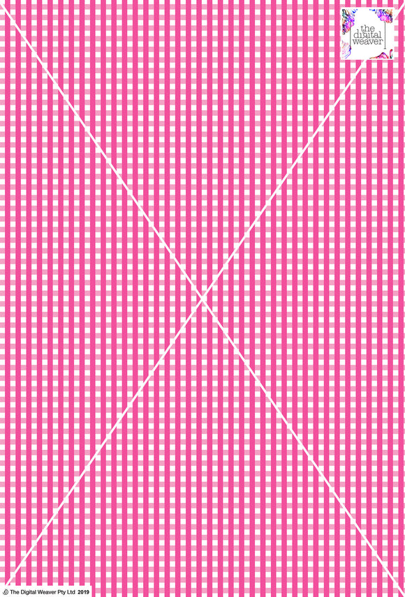 Gingham Check  - 5mm -  Hot Pink & White