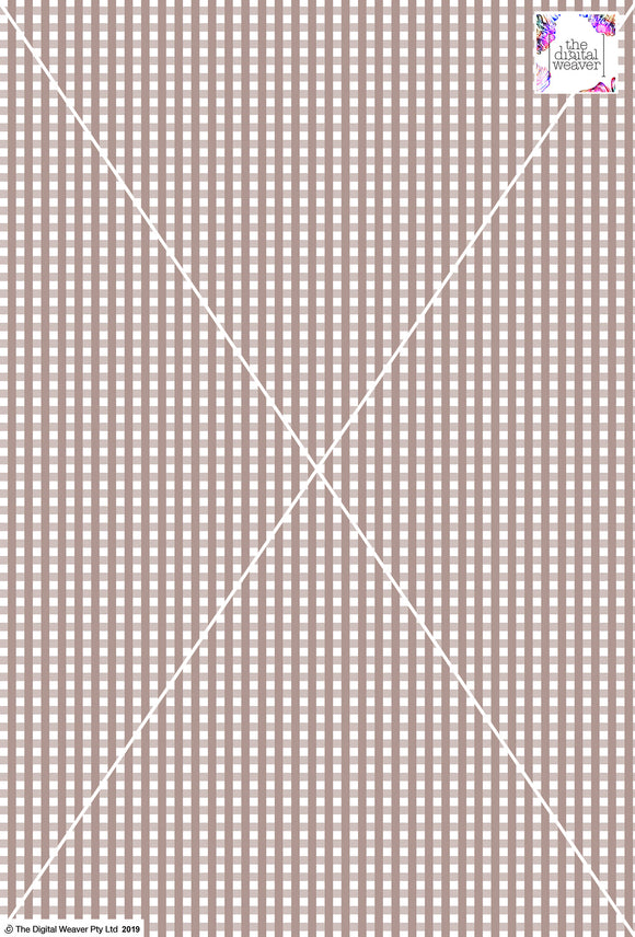 Gingham Check  - 5mm -  Latte & White