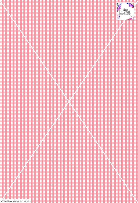 Gingham Check  - 5mm - Rose & White
