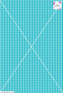 Gingham Check  - 5mm -  Teal & White