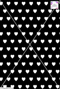 Heart Design - 3cm - Black & White