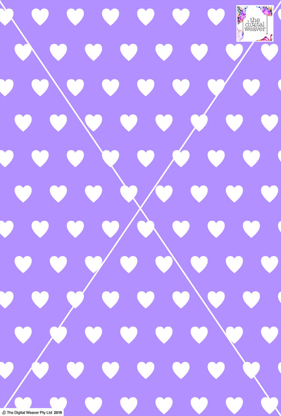 Heart Design - 3cm - Lilac & White