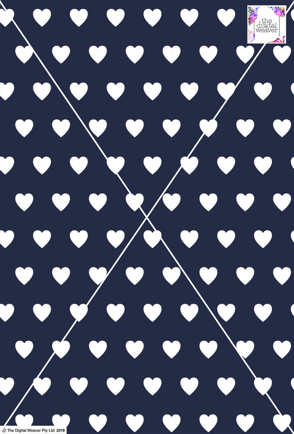Heart Design - 3cm - Navy & White