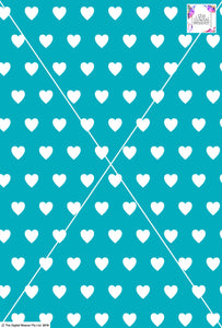 Heart Design - 3cm - Teal& White