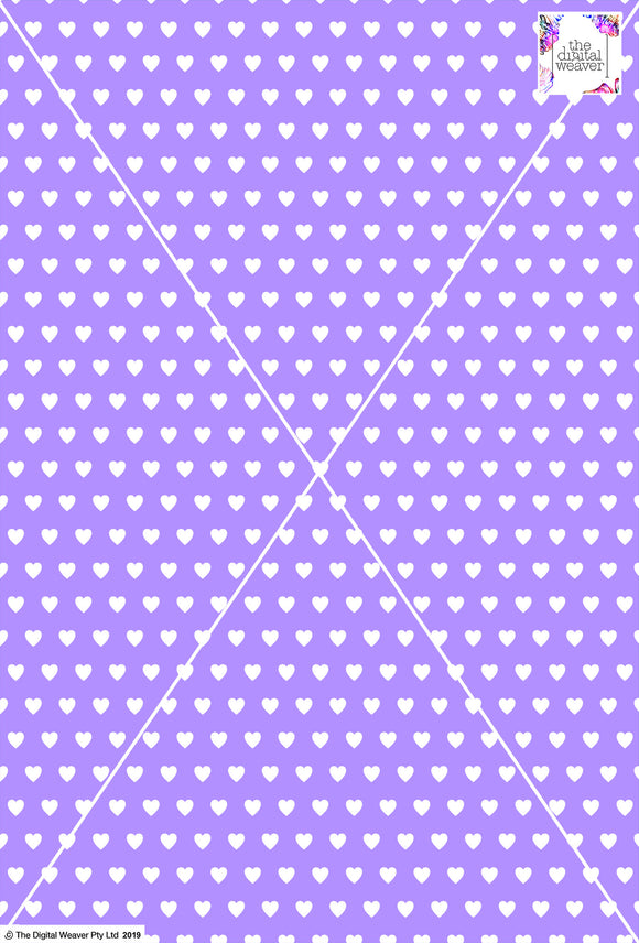 Heart Design - 1cm - Lilac & White