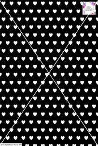 Heart Design - 2cm - Black and White