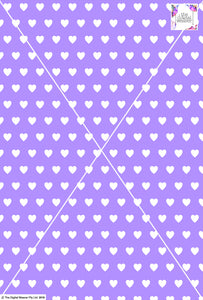 Heart Design - 2cm - Lilac & White