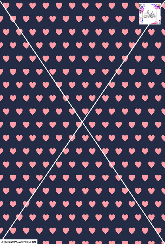 Heart Design - 2cm - Navy & Rose
