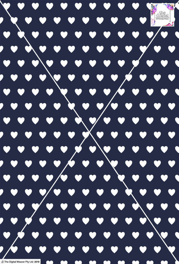 Heart Design - 2cm - Navy & White