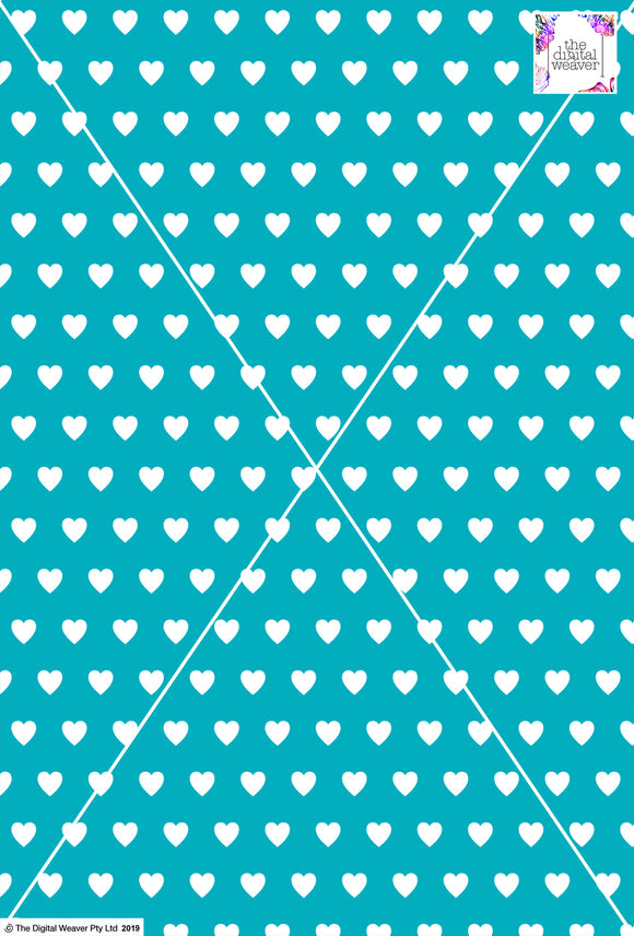 Heart Design - 2cm - Teal& White