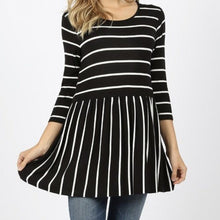 Striped Doll Top- black/ivory