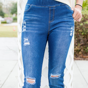 Pearled distressed jegging