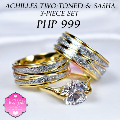 Achilles Two Tone With Sasha Gold 3 Piece Wedding Engagement Ring