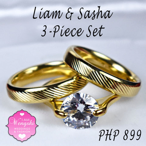 8548345791866 Liam & Sasha Gold 3-Piece Wedding Ring Set – I am Wengski Weddings ...