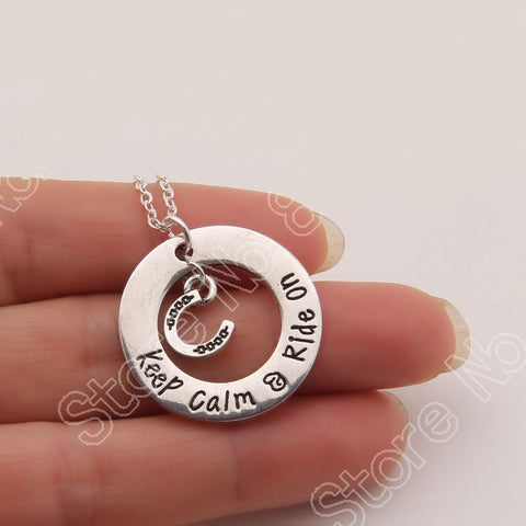 """Keep Calm & Ride On"" Necklace - FREE Shipping"