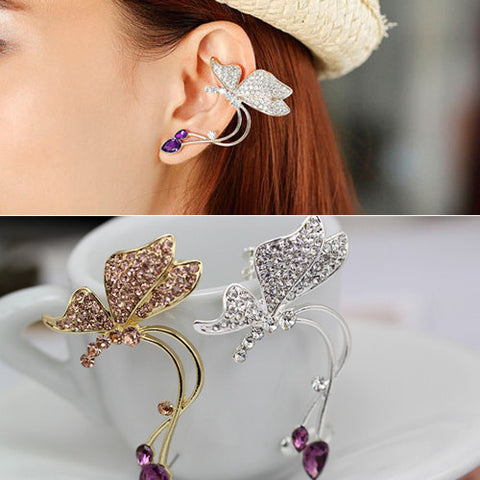1 Pc. Elegant Womens Trendy Crystal Butterfly Earring - FREE Shipping!!