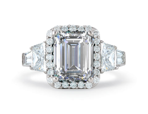Emerald Cut Diamond engagement ring with halo and trapezoids