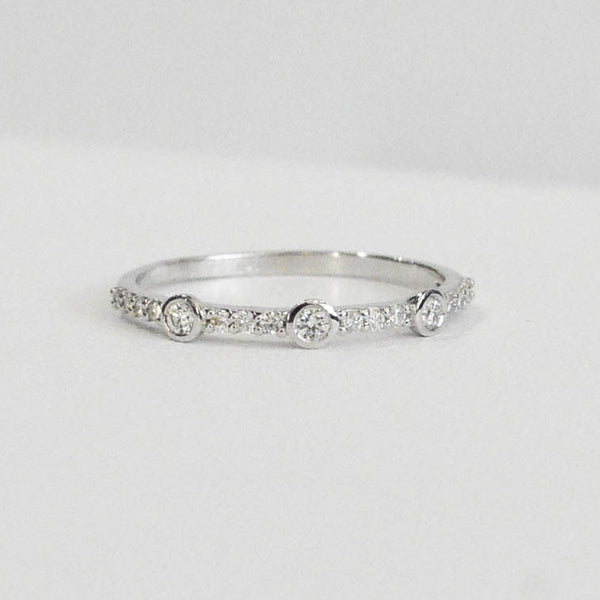 Stackable Diamond Band with Bezel Set Diamonds