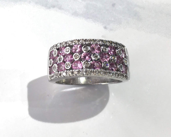 Pink Sapphire and Diamond Band