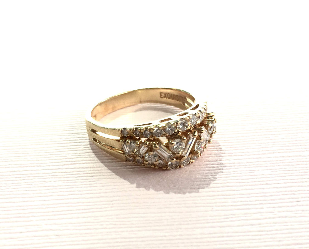 Baguette and Round Diamond Fashion Ring - Kristoff Jewelers