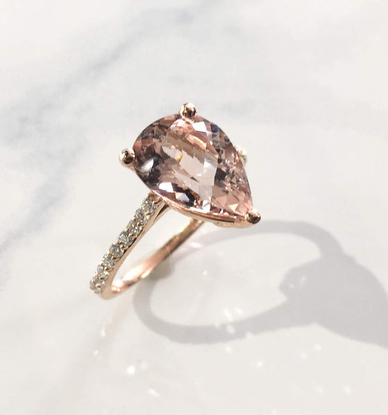 Pear Shaped Morganite and Diamond Ring