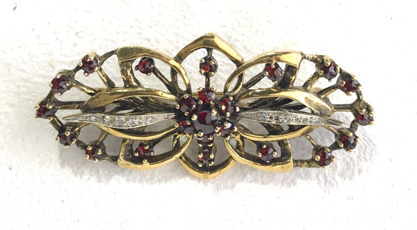 Vintage Garnet and Diamond Pin