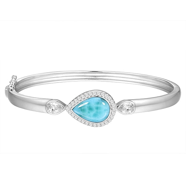Larimar Pear Shaped Bangle Bracelet